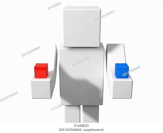 red or blue question concept with 3d cubic character