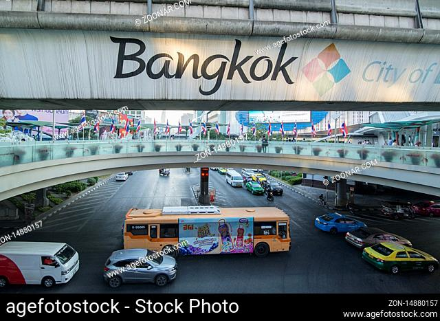 trafic at the Sukhumvit road at the Siam Square in the city of Bangkok in Thailand in Southest Asia. Thailand, Bangkok, November, 2019
