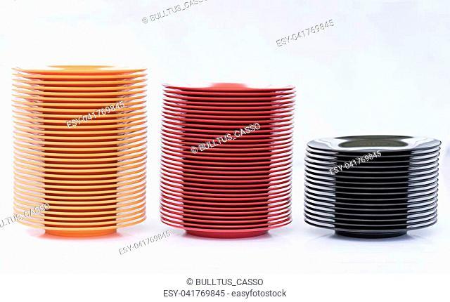 Melamine Black/Red/Orange Plate stack on white background