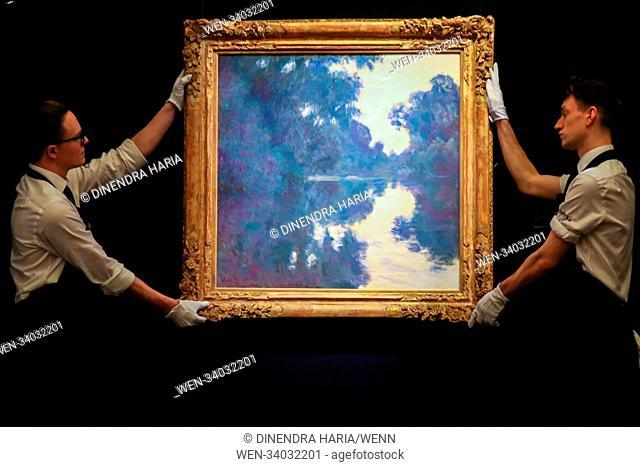 Matinee Sur La Seine by Claude Monet (Est $18 - $25m) as Sotheby's London unveils masterwork highlights of contemporary, impressionist & modern art; the auction...