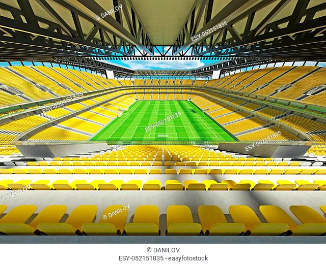 3d render of beautiful modern football stadium with yellow seats and vip boxes for fifty thousand people