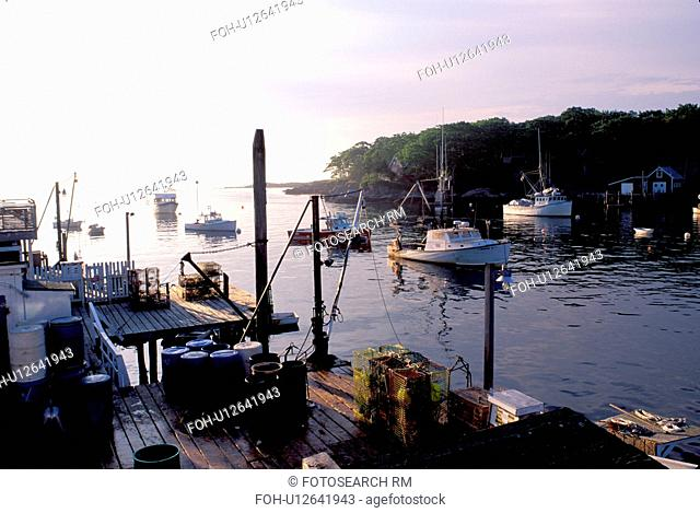 New Harbor, Maine, ME, Pemaquid, Fishing boats, dock, lobster traps early morning in the harbor