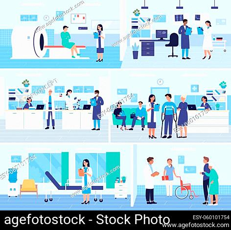 Hospital medicine departments interior vector illustration set. Cartoon patients and disabled people waiting doctor appointment in reception lobby, mri scanning