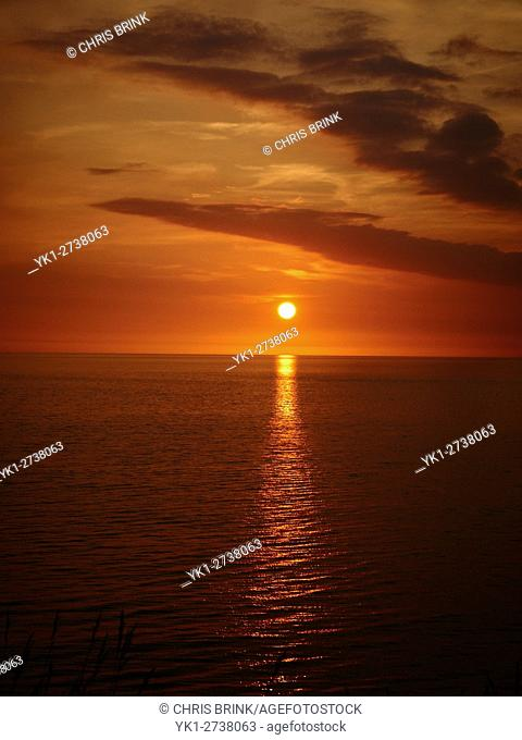 Sunset over Cardigan Bay in Wales UK