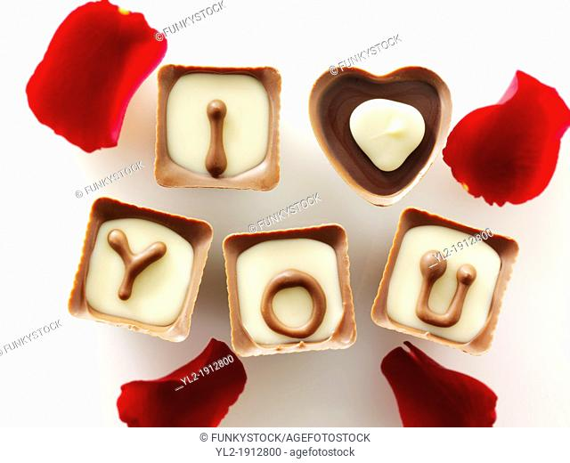 ' I love you ' chocolates stock photos for Valentines or any love message