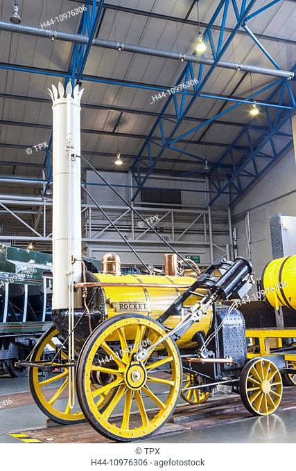 England, Yorkshire, York, National Railway Museum, museum, Exhibit of Reproduction Stephenson, Rocket