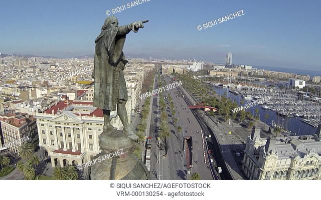 Colon Statue and las Ramblas, Barcelona, Spain