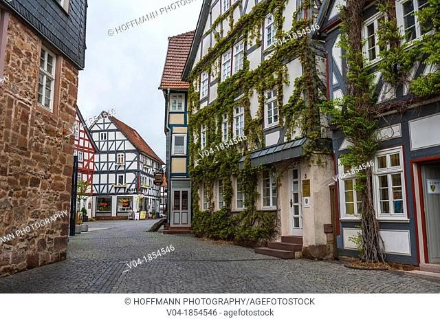 Row of timbered houses in Treysa, Hesse, Germany, Europe