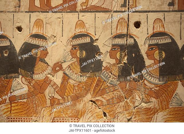 England, London, British Museum, Wall Painting of Guests at the Banquet from Nebamun's Tomb Chapel Luxor 1350BC