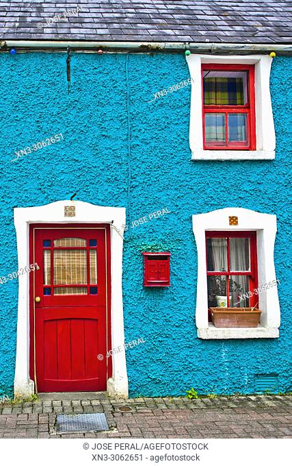 Typical colorful facade with red doors and mailbox, Killarney town, Killarney National Park, County Kerry, Ireland, Europe