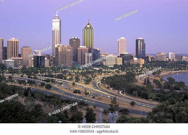 Australia, city, dusk, mood, Perth, skyline, streets, town, twilight, western Australia