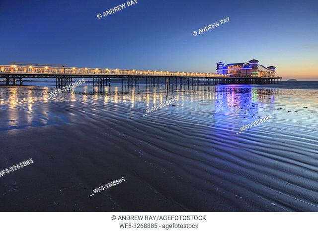 The recently rebuilt Grand Pier at Weston-Super-Mare captured shortly before sunset in May