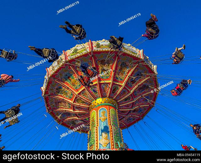 Rotating chain carousel on the Oktoberfest, Munich, Bavaria, Germany, Europe