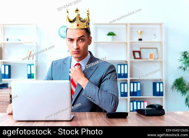 The king businessman at his workplace