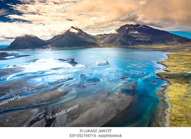The beautiful unique aerial view landscape of Iceland
