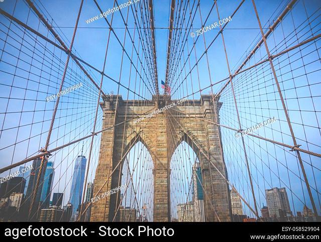The Brooklyn Bridge Against The Manhattan Skyline