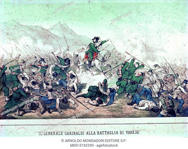Giuseppe Garibaldi during the Battle of Varese (Giuseppe Garibaldi durante la battaglia di Varese), 19th Century, engraving