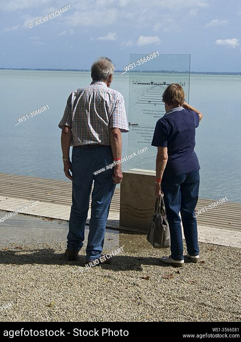Senior tourists in the Balatonfured resort on Lake Balaton. Hungary