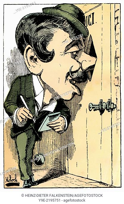A reporter, personified as Jasmin-Hector Reporter, political caricature, 1882, by Alphonse Hector Colomb pseudonym B. Moloch, 1849-1909, a French caricaturist