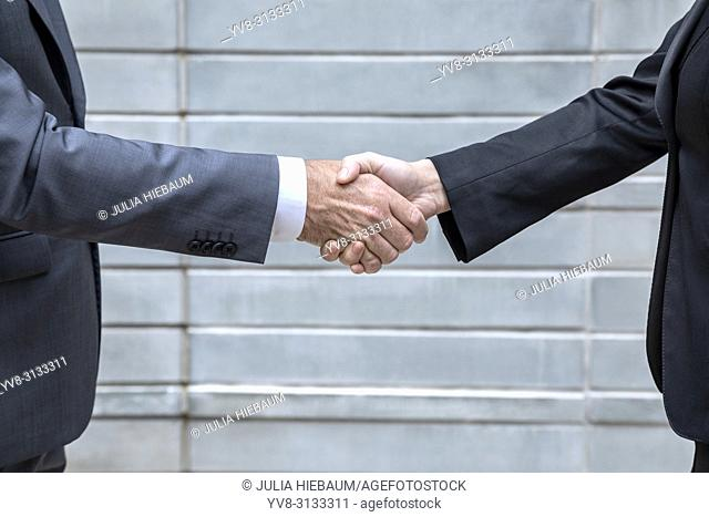 A male and female executive shaking hands