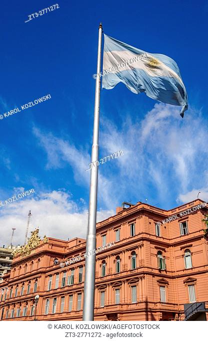 Argentina, Buenos Aires Province, City of Buenos Aires, Monserrat, View of the Casa Rosada on Plaza de Mayo