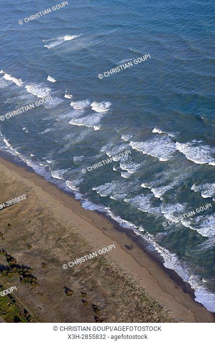 Aerial view of the coast near Barcelona, Spain, Europe