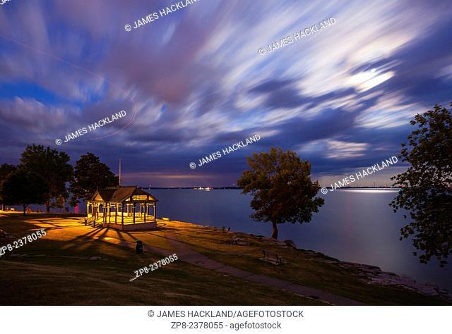 A view of a gazebo in MacDonald Park along the shore of Lake Ontario. Kingston, Ontario, Canada