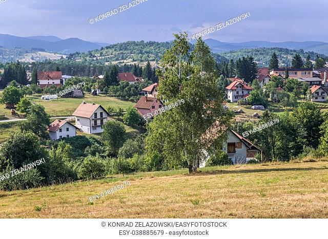 Aerial view of Sirogojno village in Zlatibor mountainous region in western part of Serbia