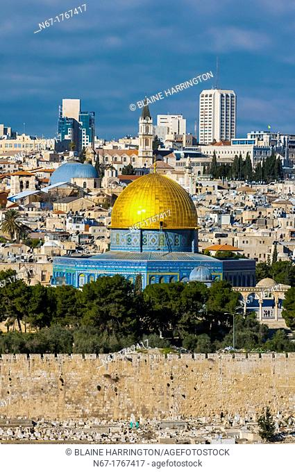 The Dome on the Rock atop the Temple Mount Mount Mariah, the old city, Jerusalem, Israel