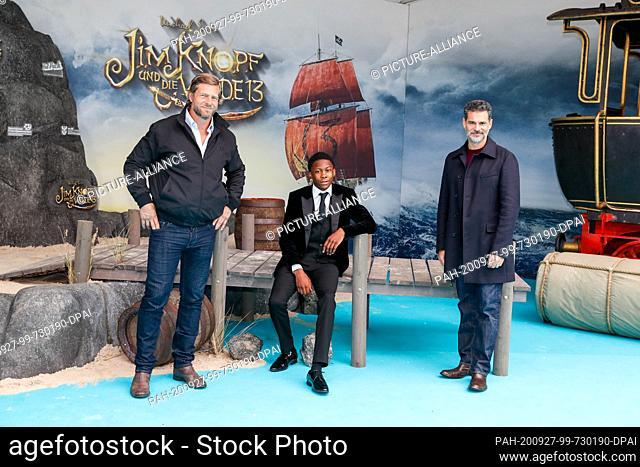 "27 September 2020, Berlin: The actors Henning Baum (l-r), Solomon Gordon, Rick Kavanian come to the world premiere of the film """"Jim Knopf und die Wilde 13"""" at..."