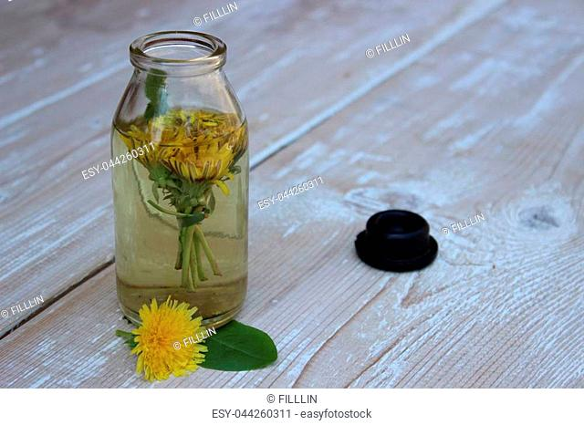 Medical tincture of dandelion flowers on the boards