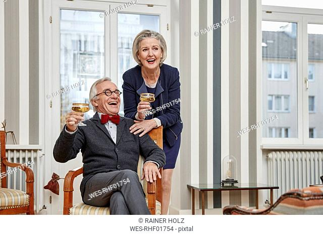 Happy senior couple drinking champagne at home