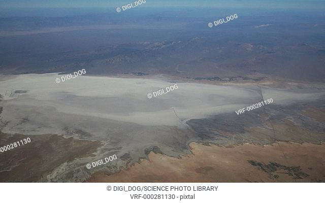 Aerial footage of a salt lake in the desert, Iraq