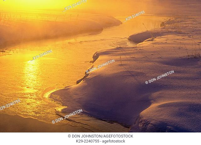 Robinson Creek in mid winter at dawn, Greater Sudbury, Ontario, Canada