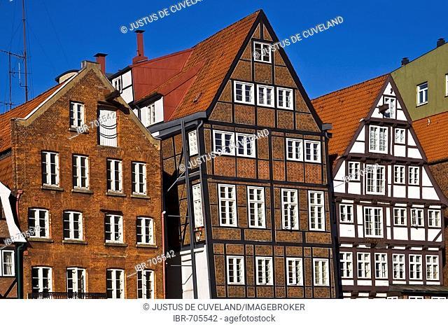 Historic timber-framed houses in Hamburg, Deichstrasse, Nikolaifleet, Altstadt district, Hamburg, Germany, Europe