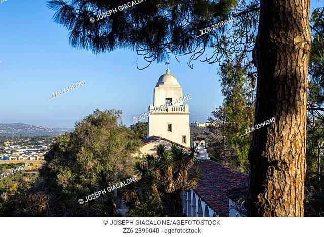 View of the Junipero Serra Museum building in the morning. Presidio Park, San Diego, California, United States