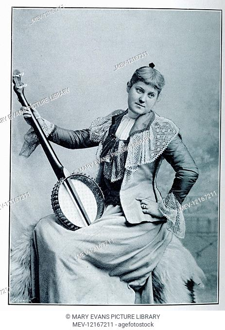 Woman posing with banjo