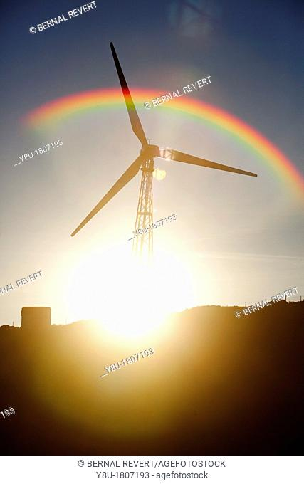 Windmill at dusk in Tarifa