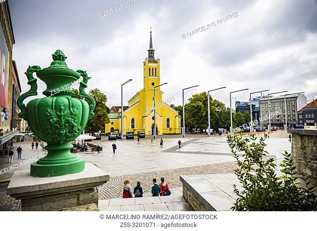 Freedom Square and St. John's church, Tallinn, Harju County, Estonia, Baltic states, Europe
