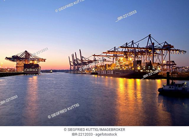 Eurokai quay and Burchardkai quay, Hamburg, Germany, Europe