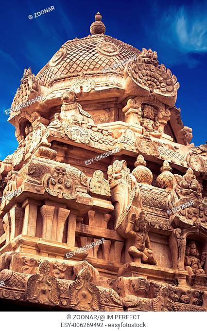 Great architecture of Hindu Temple dedicated to Shiva. Gangaikonda Cholapuram Temple. South India, Tamil Nadu, Thanjavur (Trichy)