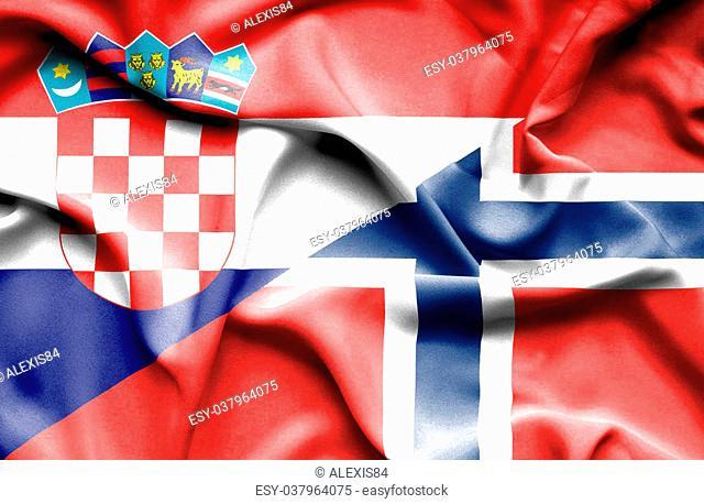 Waving flag of Norway and Croatia