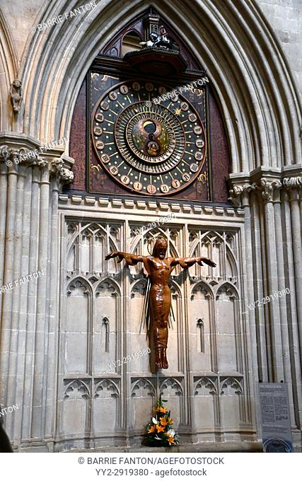 Astronomical Clock and Crucifix, Wells Cathedral, Wells, England