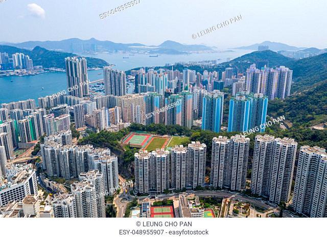 Tai Koo, Hong Kong, 19 March 2019: Top view of city in Hong Kong