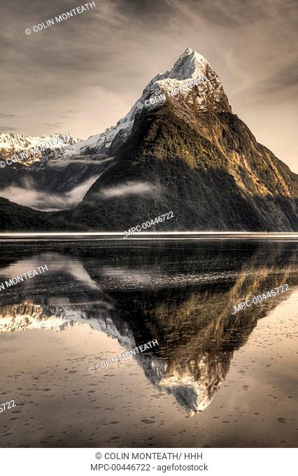 Mitre Peak reflection, Milford Sound, Fjordland National Park, New Zealand