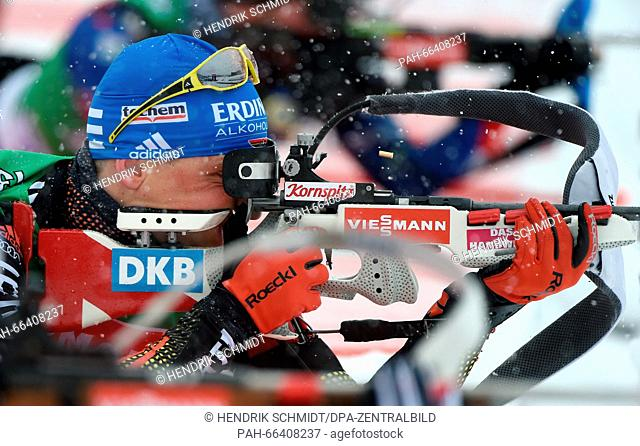 Biathlete Erik Lesser of Germany in action during a training session at the Biathlon World Championships, in the Holmenkollen Ski Arena, Oslo, Norway