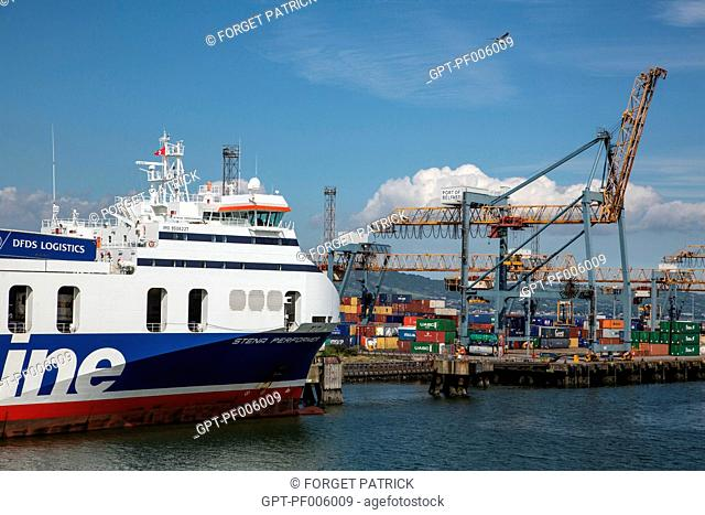 COMMERCIAL PORT AND CONTAINERS, BELFAST, ULSTER, NORTHERN IRELAND
