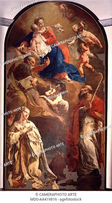 Vergin Mary with Child venerated by St. Gregory the Great, Bishop and St. Peter the Apostle and an Allegory of Venice, by Giulia Lama, 1723, 18th Century