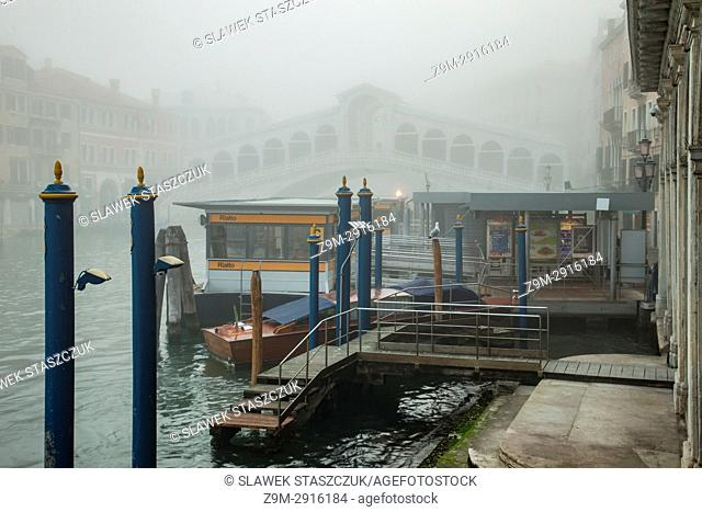 Foggy morning on Grand Canal in Venice, Italy