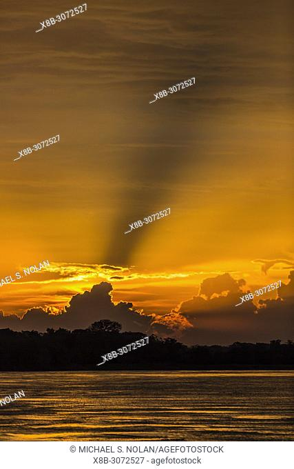 Sunset on the San Miguel Caño, Upper Amazon River Basin, Loreto, Peru